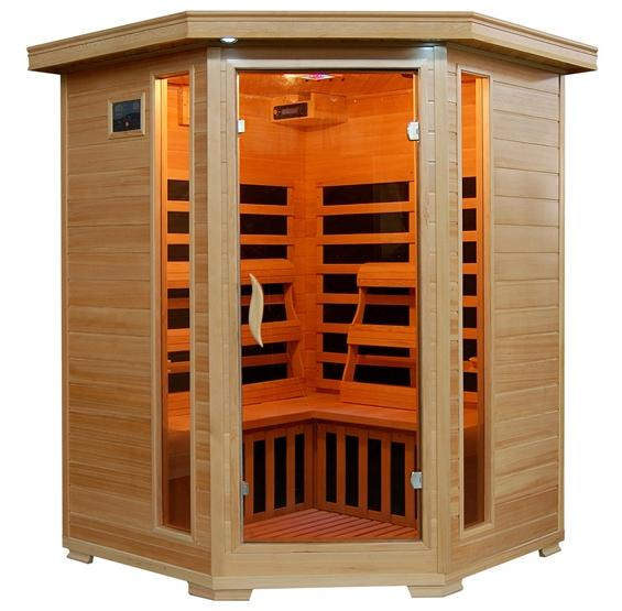 SANTA FE - 3 Person Infrared Sauna with Carbon Heaters - Corner Unit