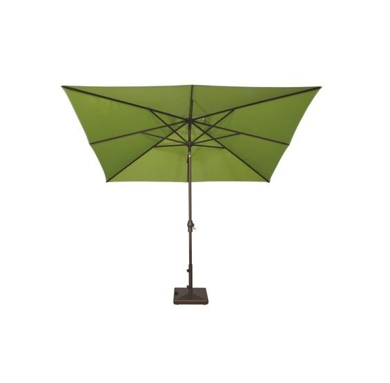 tilted rectangular patio umbrella with base