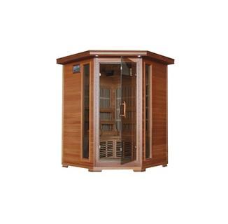HUDSON BAY - 3 Person Cedar Infrared Sauna with Carbon Heaters - Corner Unit