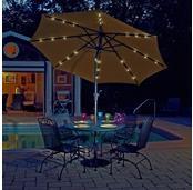 Mirage Fiesta 9-ft Market Solar LED Auto-Tilt Patio Umbrella in Olefin