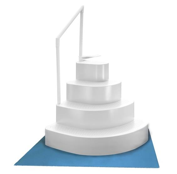 Wedding Cake Above Ground Pool Step w/ Liner Pad - White