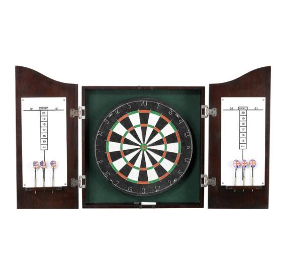 Centerpoint Solid Wood Dart Cabinet Set - Dark Cherry