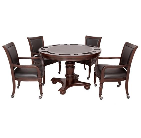 Bridgeport 2-in-1 Poker Game Table Set - Walnut Finish