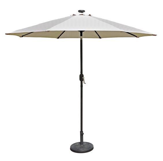 Patio Umbrella Alternative: Mirage Fiesta 9-ft Market Solar LED Auto-Tilt Patio