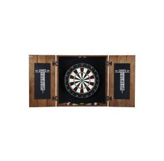 Drifter Solid Wood Dartboard & Cabinet Set - Rustic Oak