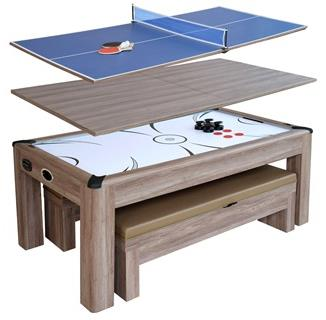 Driftwood 7-ft Air Hockey Table Combo Set with Benches