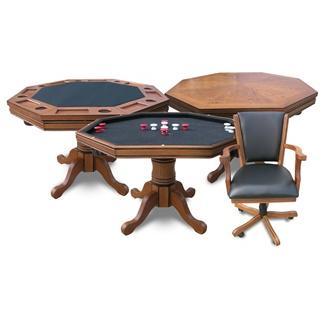 Antique Dark Oak 3-in-1 Poker Table w/4 chairs