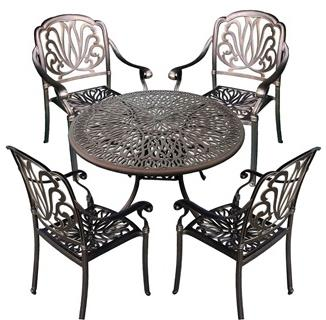 Royal Isle 5-Piece Dining Set - Golden Bronze Finish