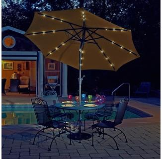 Mirage Fiesta 9-ft Market Solar LED Auto-Tilt Patio Umbrella in Olefin