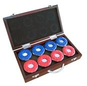 Shuffleboard Pucks in Wooden Case