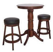 Oxford 3 Piece Hardwood Pub Table Set - Walnut Finish