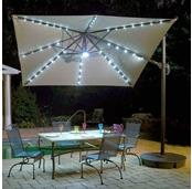 Santorini II Fiesta 10-ft Square Cantilever Solar LED Umbrella in Sunbrella Acrylic